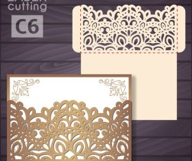 lacework wedding invitation card template vector 02