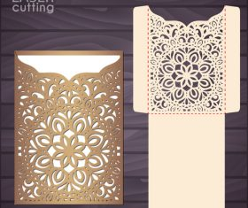 lacework wedding invitation card template vector 03