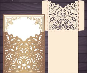 lacework wedding invitation card template vector 04
