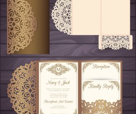 lacework wedding invitation card template vector 05
