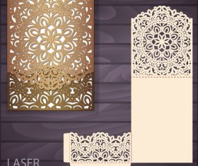 lacework wedding invitation card template vector 06