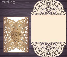 lacework wedding invitation card template vector 07