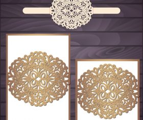 lacework wedding invitation card template vector 08