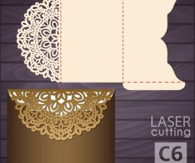 lacework wedding invitation card template vector 09