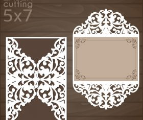laser cutting floral card vector template 01