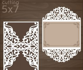 laser cutting floral card vector template 02