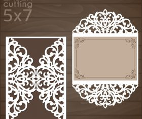 laser cutting floral card vector template 03