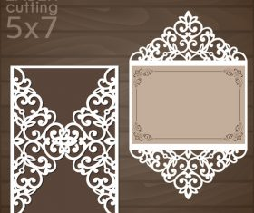 laser cutting floral card vector template 04