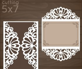 laser cutting floral card vector template 05