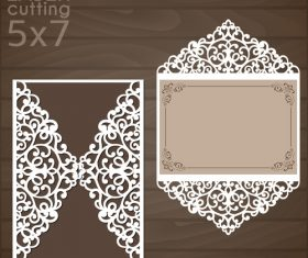 laser cutting floral card vector template 06