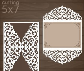 laser cutting floral card vector template 08
