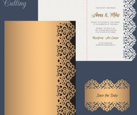 laser cutting wedding invitation card vector 01
