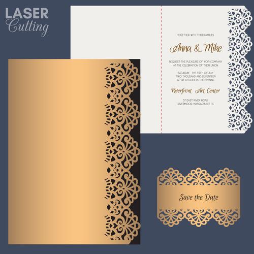 laser cutting wedding invitation card vector 01