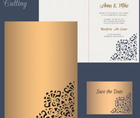 laser cutting wedding invitation card vector 02