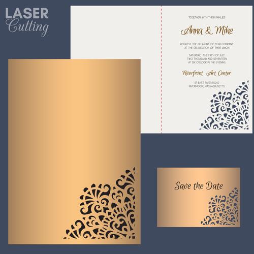 laser cutting wedding invitation card vector 02