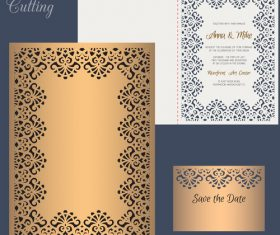 laser cutting wedding invitation card vector 03