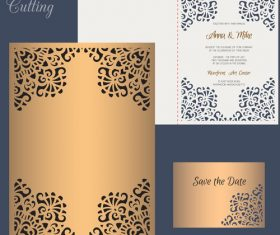 laser cutting wedding invitation card vector 04