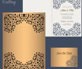 laser cutting wedding invitation card vector 05