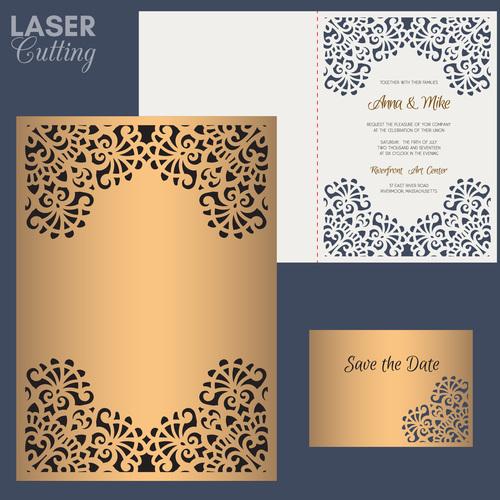 laser cutting wedding invitation card vector 05