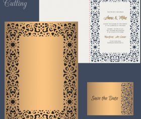 laser cutting wedding invitation card vector 06