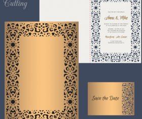 laser cutting wedding invitation card vector 06