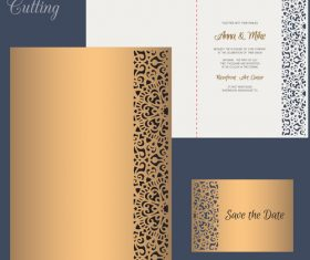laser cutting wedding invitation card vector 07