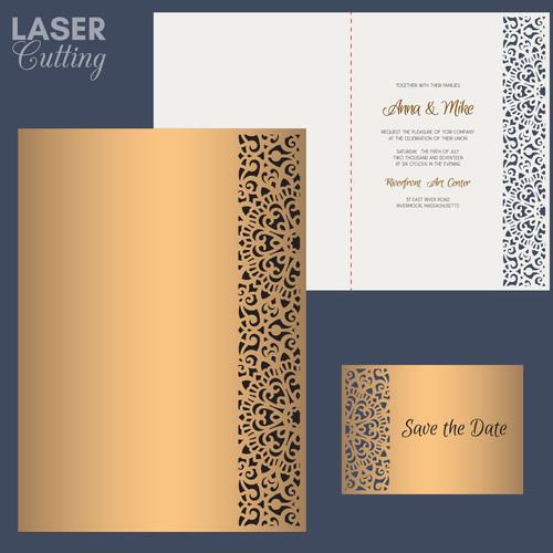 laser cutting wedding invitation card vector 07
