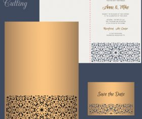 laser cutting wedding invitation card vector 08