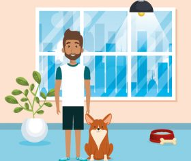 man and pets in room interior vector material 01