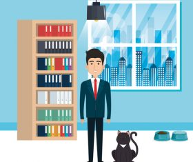 man and pets in room interior vector material 02