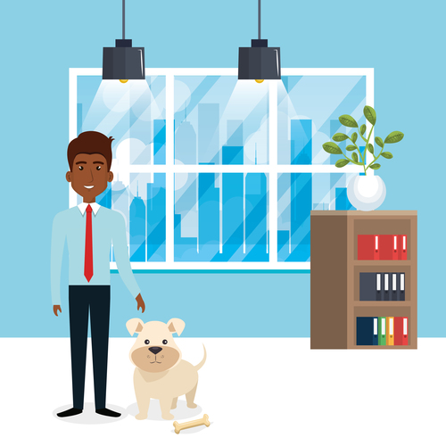 man and pets in room interior vector material 03