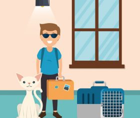 man and pets in room interior vector material 04