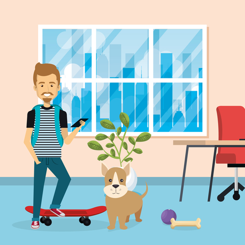 man and pets in room interior vector material 05