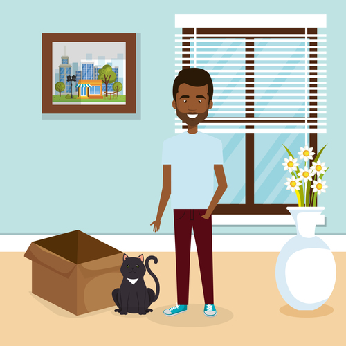man and pets in room interior vector material 06