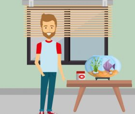 man and pets in room interior vector material 07