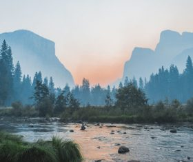 mountain stream scenery at dawn Stock Photo