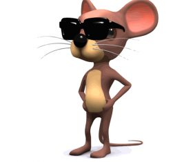 mouse sunglasses cartoon vector