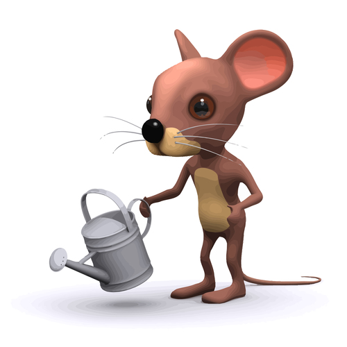 mouse watering cartoon vector