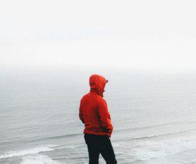 person on rippled wavy beach Stock Photo