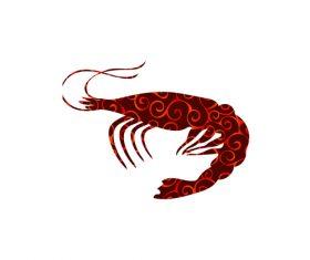 shrimp spiral pattern design vector