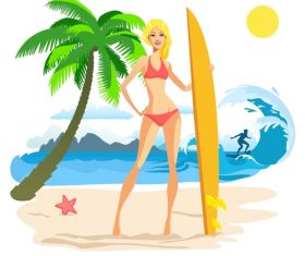 surfing women design vector