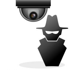 theif with surveillance cameras vector