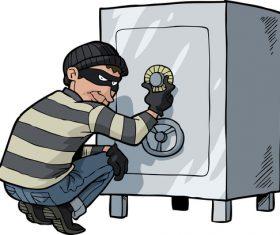 thief breaks into a safe vector