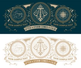 vintage decor labels template vector design 01