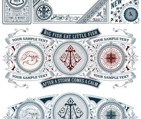 vintage decor labels template vector design 03