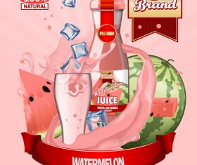 watermelon juice advertising poster vector