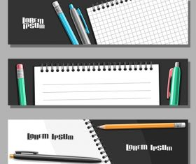 writing materials banners template vector 01