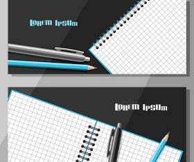 writing materials banners template vector 02