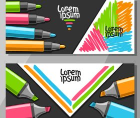 writing materials banners template vector 03