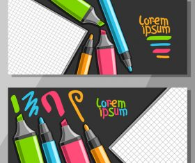 writing materials banners template vector 04